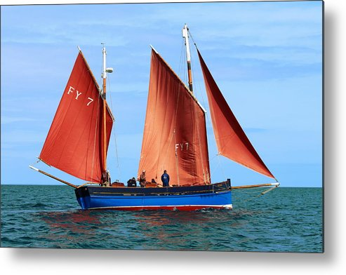 Looe Lugger Metal Print featuring the photograph Looe Lugger 'our Daddy' by Tom Wade-West