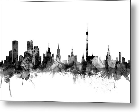 Watercolour Metal Print featuring the digital art Moscow Russia Skyline by Michael Tompsett