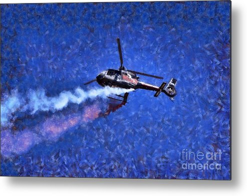 Airbus Ec-120b Metal Print featuring the painting Painting Of Airbus Ec-120b Helicopter by George Atsametakis