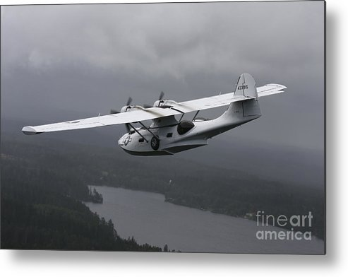 Transportation Metal Print featuring the photograph Pby Catalina Vintage Flying Boat by Daniel Karlsson