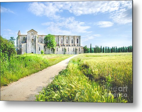 Abbey Metal Print featuring the photograph San Galgano Church Ruins In Siena - Tuscany - Italy - by Luca Lorenzelli
