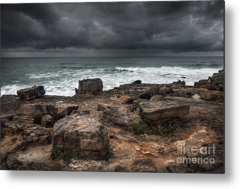 Winter Metal Print featuring the photograph Stormy Seascape by Carlos Caetano