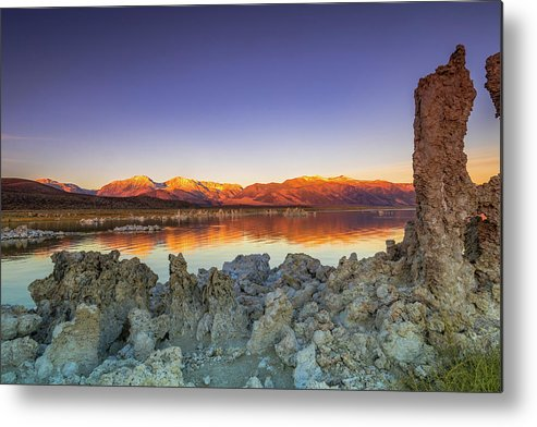 Landscape Metal Print featuring the photograph Sunrise At Mono Lake by Javier Flores
