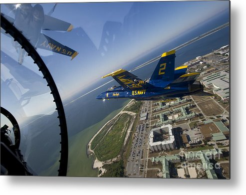 U.s. Navy Metal Print featuring the painting the Blue Angels by Celestial Images