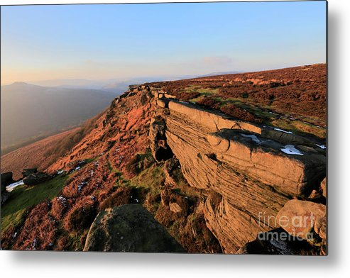 Stanage Edge Metal Print featuring the photograph The Gritstone Rock Formations On Stanage Edge by Dave Porter