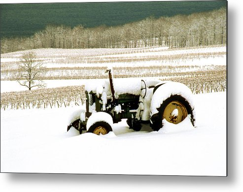 Metal Print featuring the photograph Tractor In Snowy Vineyard by Roger Soule
