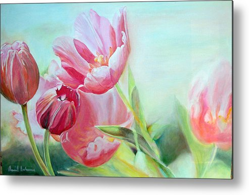 Floral Painting Metal Print featuring the painting Tulipes by Muriel Dolemieux