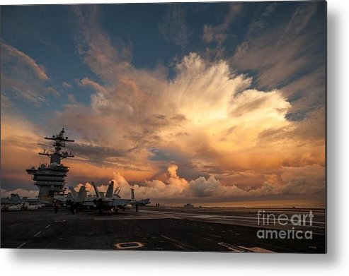 Uss Carl Vinson (cvn 70) Credit Us Navy Metal Print featuring the painting Uss Carl Vinson by Celestial Images