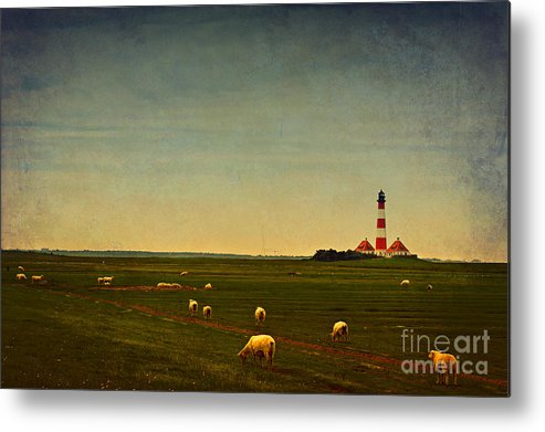 White Clouds Metal Print featuring the photograph Westerhever Lighthouse by Angela Doelling AD DESIGN Photo and PhotoArt