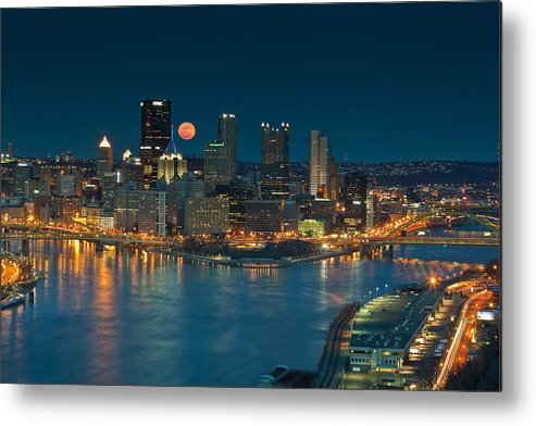 Pittsburgh Metal Print featuring the photograph 2011 Supermoon Over Pittsburgh by Jennifer Grover