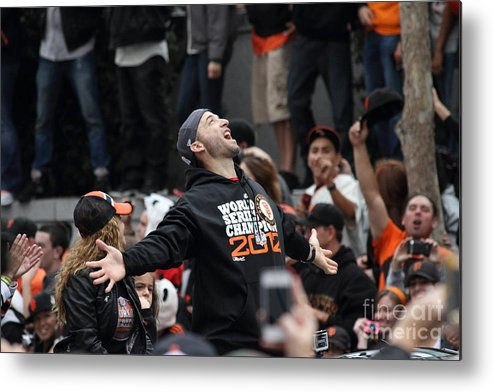 Sport Metal Print featuring the photograph 2012 San Francisco Giants World Series Champions Parade - Marco Scutaro - Dpp0008 by Wingsdomain Art and Photography