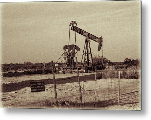 Drillers Club Metal Print featuring the photograph 2016_10_pecos Tx_ Pump Jacks 1 by Brian Farmer