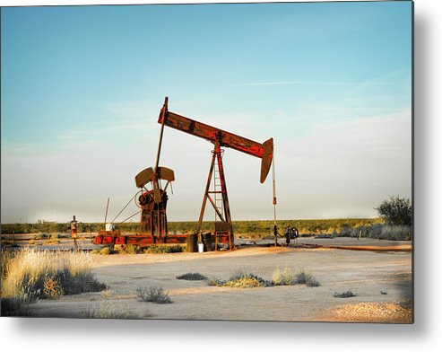 Drillers Club Metal Print featuring the photograph 2016_10_pecos Tx_pump Jacks 2 by Brian Farmer