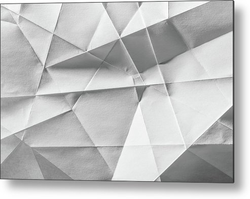 Abstract Metal Print featuring the photograph White Folded Paper by Alain De Maximy