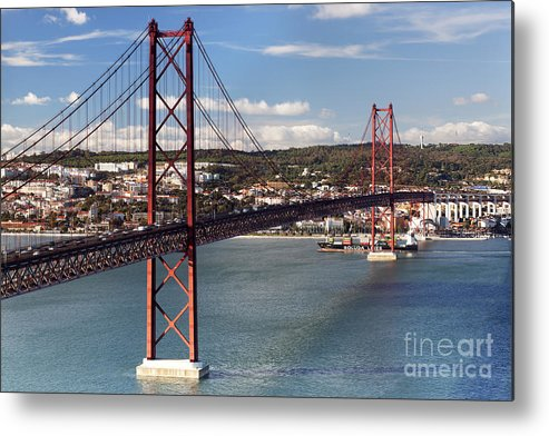 Abril Metal Print featuring the photograph 25th Of April Suspension Bridge In Lisbon by Andre Goncalves