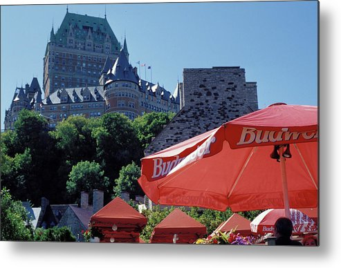 Red Umbrellas Metal Print featuring the photograph Chateau Frontenac In Quebec City by Carl Purcell