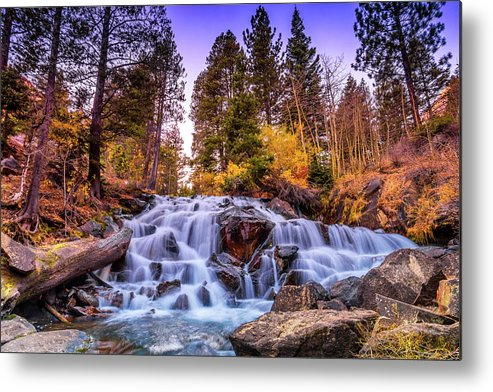Landscape Metal Print featuring the photograph Lee Vining Creek Waterfall by Javier Flores