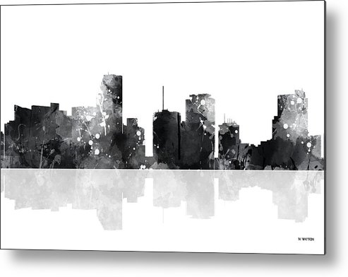 Miami Florida Skyline Metal Print featuring the digital art Miami Florida Skyline by Marlene Watson