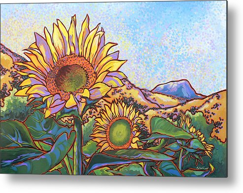 Sunflower Metal Print featuring the painting 3 Sunflowers by Nadi Spencer