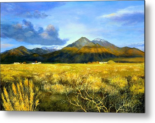 Landscape Metal Print featuring the painting Taos Mountain by Brooke Lyman