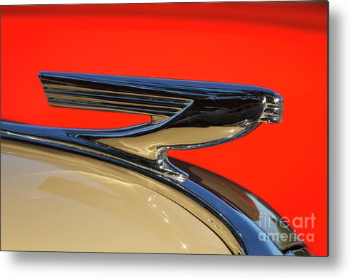 Hood Ornament Metal Print featuring the photograph '37 Chevy by Dennis Hedberg
