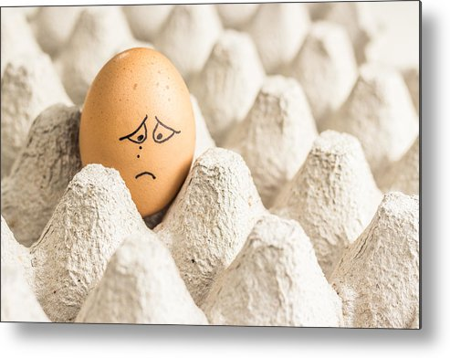 Eggs Have Feelings Too Metal Print featuring the photograph Eggs Have Feelings Too by Ernesto Santos