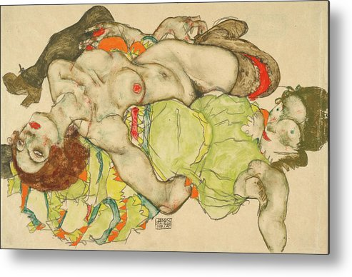 Egon Schiele Metal Print featuring the painting Female Lovers by Egon Schiele