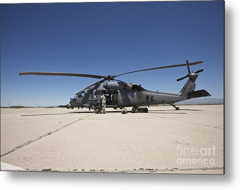 Exercise Angel Thunder Metal Print featuring the photograph Hh-60g Pave Hawk With Pararescuemen by Terry Moore