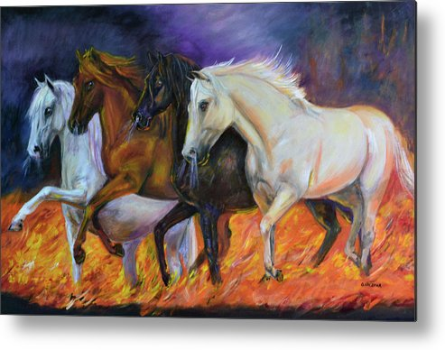 Horse Metal Print featuring the painting 4 Horses Of The Apocalypse by Olga Kaczmar