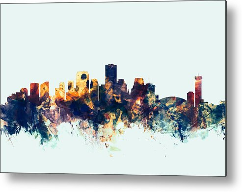 United States Metal Print featuring the digital art New Orleans Louisiana Skyline by Michael Tompsett