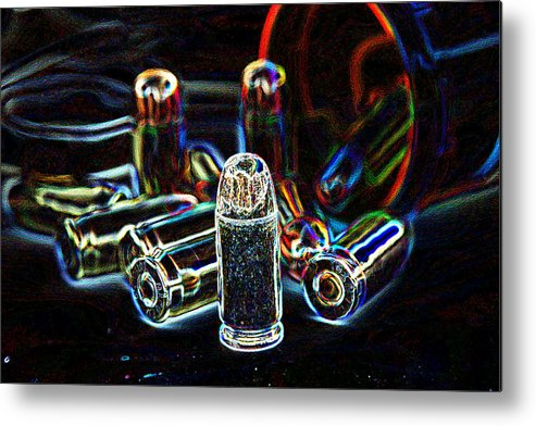 Pop Art Metal Print featuring the photograph Pop Art Of .45 Cal Bullets Comming Out Of Pill Bottle by Michael Ledray