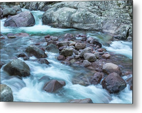 Autumn Metal Print featuring the photograph Slow Shutter Photo Of Figarella River At Bonifatu In Corsica by Jon Ingall