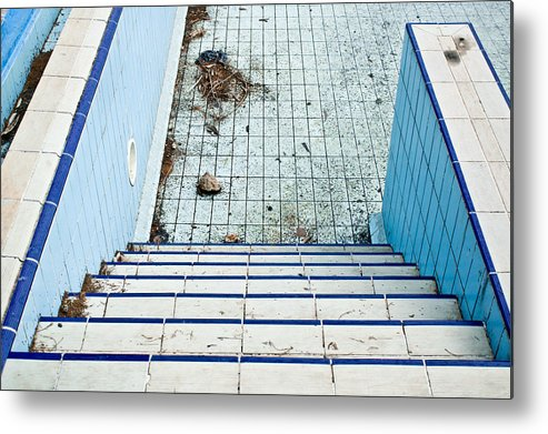 Algae Metal Print featuring the photograph Derelict Swimming Pool by Tom Gowanlock