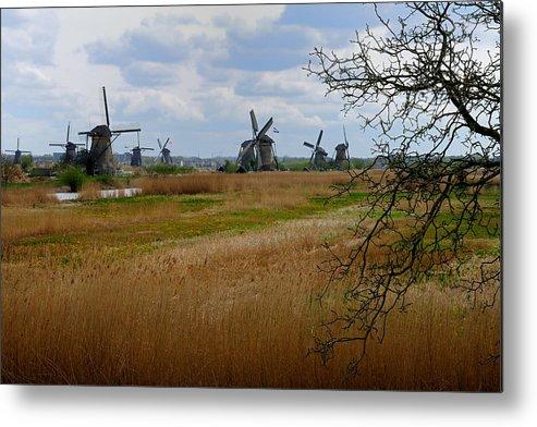 Kinderdijk Metal Print featuring the photograph Kinderdijk Windmills by Soon Ming Tsang