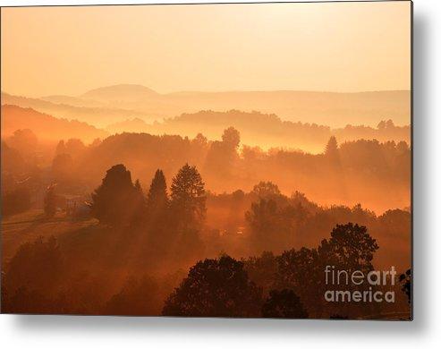 Sunrise Metal Print featuring the photograph Misty Mountain Sunrise by Thomas R Fletcher