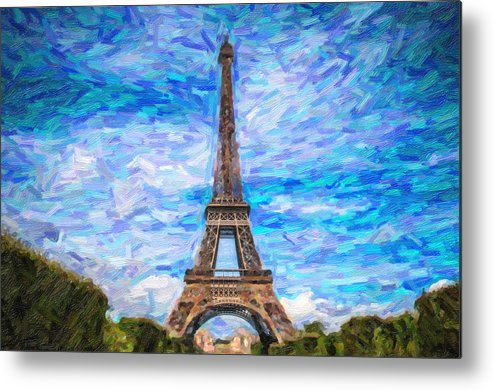 Landmark Metal Print featuring the pyrography The Eiffel Tower by Artistic Panda