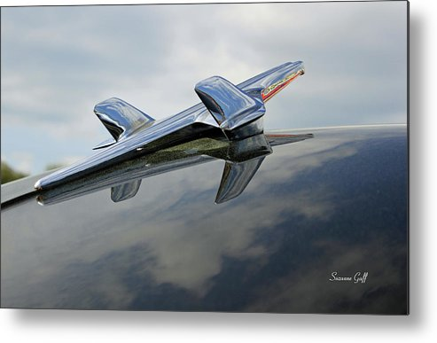 Hood Ornament Metal Print featuring the photograph 55 Chevy Hood by Suzanne Gaff
