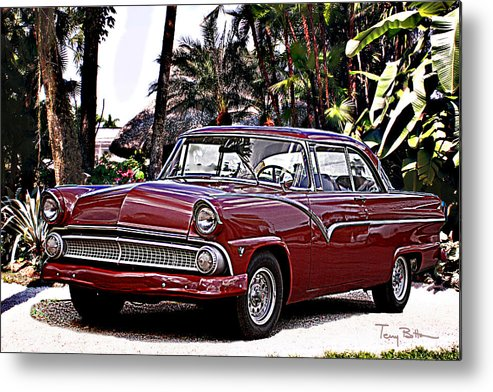 Custom Cars Metal Print featuring the digital art 55 Ford Fairlane by Terry Bottom