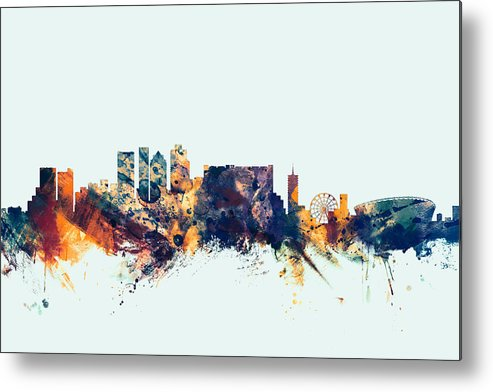 City Metal Print featuring the digital art Cape Town South Africa Skyline by Michael Tompsett