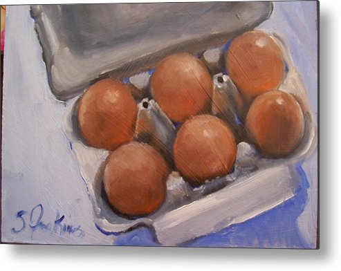 Still Life Metal Print featuring the painting 6 Pack by Susan Jenkins