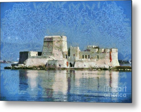 Nafplio; Nafplion; Old; City; Town; Peloponnesus; Peloponnese; Argolis; Argolida; Greece; Greek; Hellas; Europe; European; Vacation; Holidays; Touristic; Tourism; Travel; Trip; Voyage; Journey; Sea; Bourtzi Metal Print featuring the painting Bourtzi Fortress by George Atsametakis