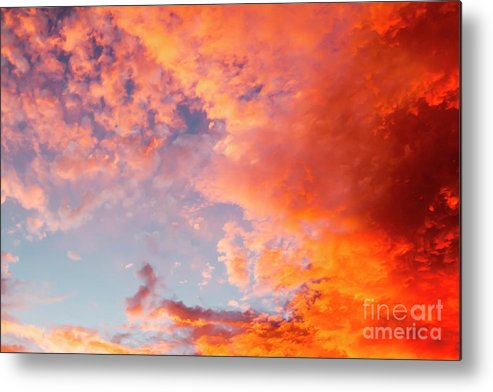 Sun Metal Print featuring the photograph Red Cloudscape At Sunset. by Sv