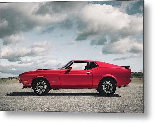 Vintage Metal Print featuring the digital art 72 Mustang by Douglas Pittman