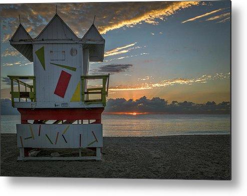 Atlantic Metal Print featuring the photograph 8041- Miami Beach Sunrise by David Lange