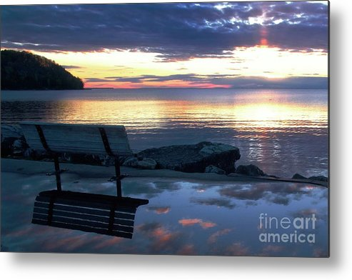 Bench Metal Print featuring the photograph A Bench To Reflect by John Fabina