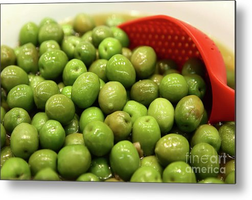 Food Metal Print featuring the photograph A Bowl Of Black Olives by Oren Shalev