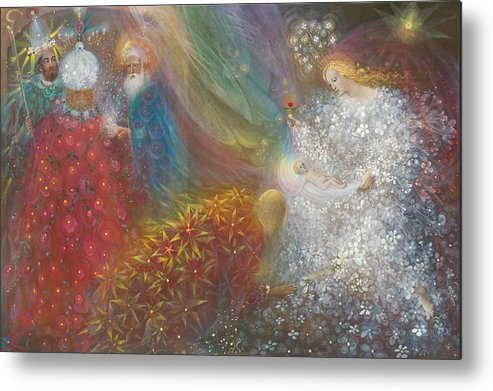 Nativity Metal Print featuring the painting A Child Is Born by Annael Anelia Pavlova