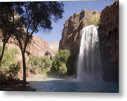 Havasu Canyon Metal Print featuring the photograph A Large Waterfall Hydrates A Narrow by Taylor S. Kennedy