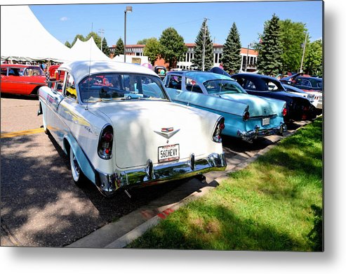 Show Metal Print featuring the painting A Line Of Classic Antique Cars 3 by Jeelan Clark