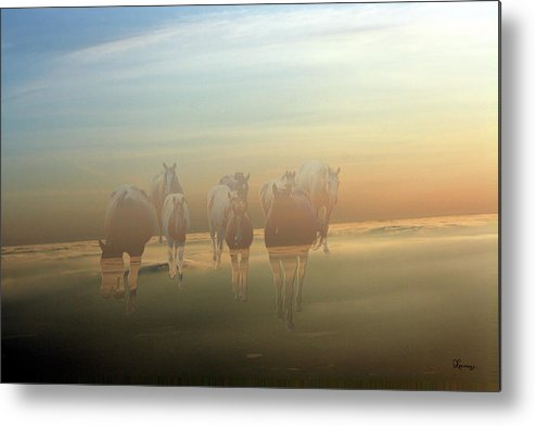 Horses Paint Herd Animals Ranch Farm Colts Quarter Horse Clouds Sky Metal Print featuring the photograph A Touch Of Horse Heaven by Andrea Lawrence